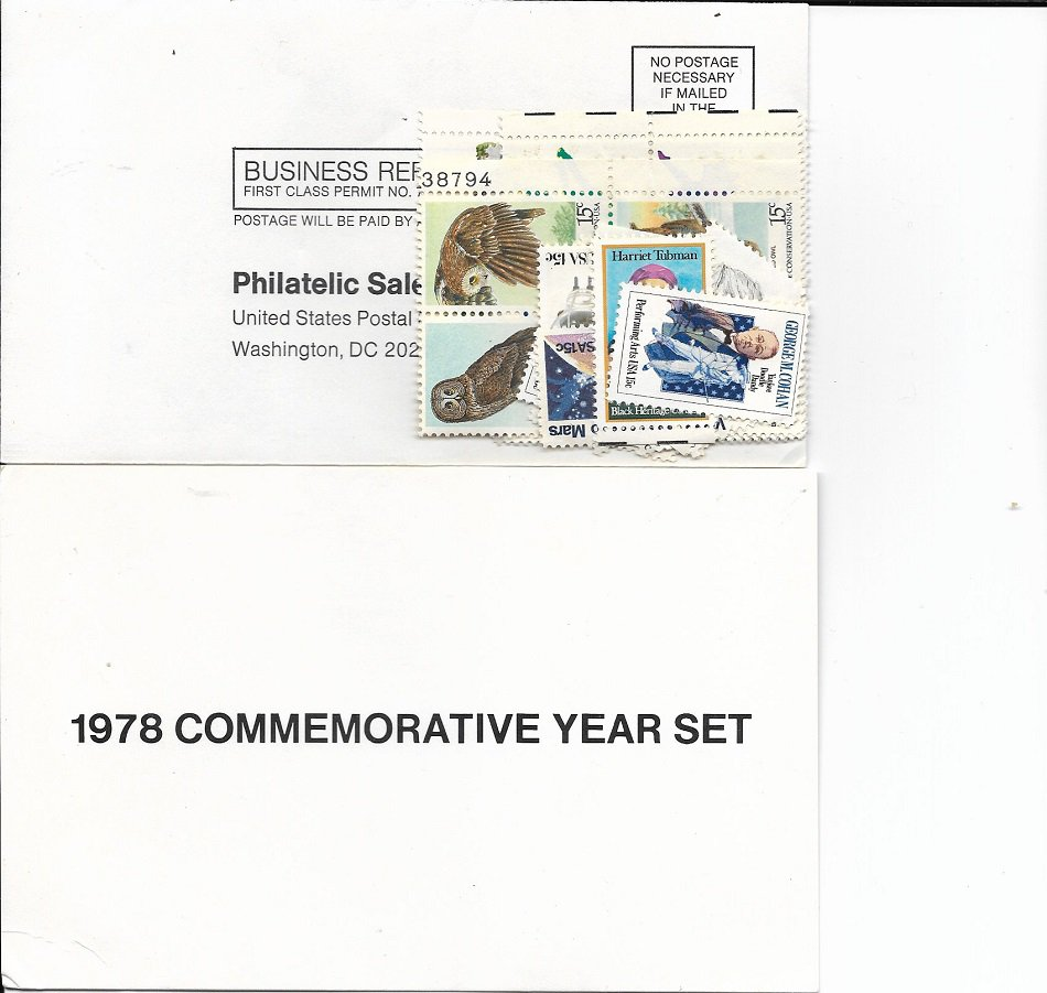US 1978 Commemorative Year Set with Stamps Stuck Together1978