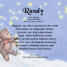 TEDDY BEAR - Angel Boy  - PERSONALIZED 1 Name Meaning Print  - no US s/h fee