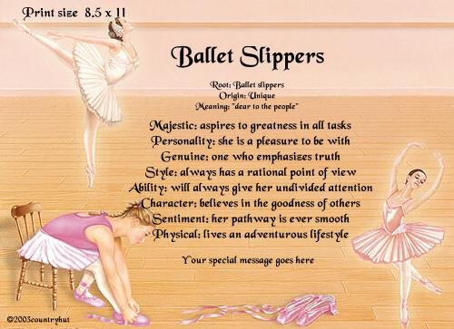 BALLET #3 - PERSONALIZED 1 Name Meaning Print  - no US s/h fee