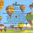 HOT AIR BALLOONS #1 - PERSONALIZED 1 Name Meaning Print  - no US s/h fee