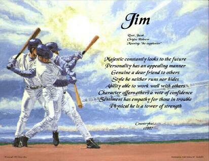BASEBALL #1 - PERSONALIZED 1 Name Meaning Print  - no US s/h fee