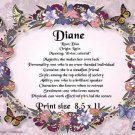 BUTTERFLY FLORAL  RING - PERSONALIZED 1 Name Meaning Print  - no US s/h fee