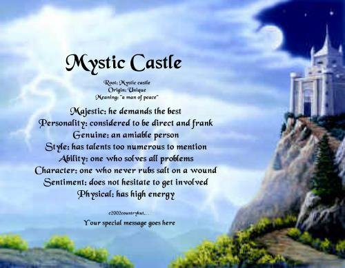 MYSTIC CASTLE #1 - PERSONALIZED 1 Name Meaning Print  - no US s/h fee