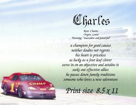 RACING car #2 - PERSONALIZED 1 Name Meaning Print  - no US s/h fee