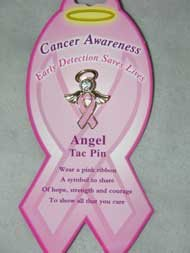 Angel Tac Pin-Pink Ribbon, BREAST CANCER AWARENESS (Set of 2)