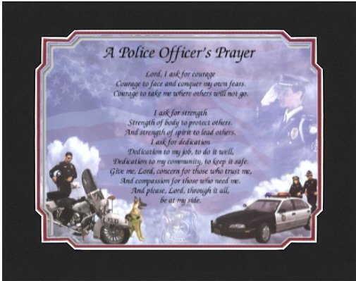 a POLICE OFFICER'S PRAYER Poem Print with Mat - (Ready for Gift Giving)