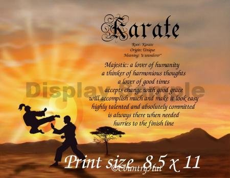 KARATE, Martial Arts - PERSONALIZED 1 Name Meaning Print  - no US s/h fee