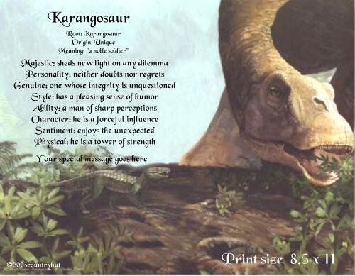 DINOSAURS #4 - PERSONALIZED 1 Name Meaning Print  - no US s/h fee