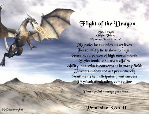 DRAGON #1 - PERSONALIZED 1 Name Meaning Print  - no US s/h fee
