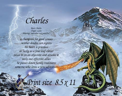DRAGON #3 - PERSONALIZED 1 Name Meaning Print  - no US s/h fee