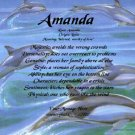 DOLPHINS #1- PERSONALIZED 1 or 2 Name Meaning Print  - no US s/h fee