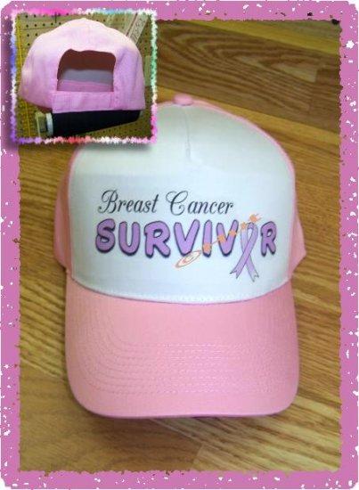 Ball Cap, BREAST CANCER SURVIVOR Awareness, Pink Ribbon