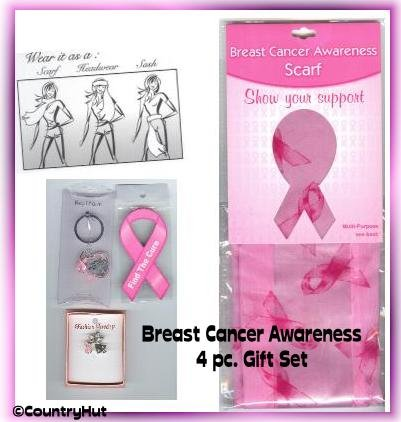 BREAST CANCER awareness 4 pc GIFT SET, Pink Ribbons