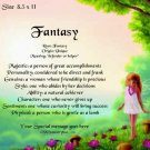 Garden FAIRY, fairies - PERSONALIZED 1 Name Meaning Print  - no US s/h fee