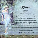 BLUE FAIRY  - PERSONALIZED 1 Name Meaning Print  - no US s/h fee