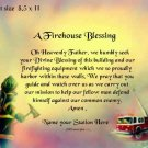 FIREHOUSE BLESSING, FIREMAN, Ladder Truck  - PERSONALIZED  Print  - no US s/h fee
