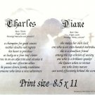 Couple EMBRACE #1 - PERSONALIZED 1 or 2 Name Meaning Print  - no US s/h fee
