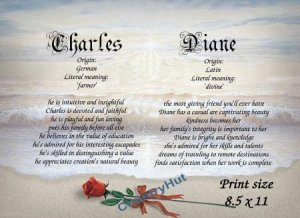 ROSE on the BEACH - PERSONALIZED 1 or 2 Name Meaning Print  - no US s/h fee