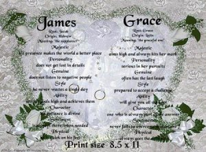 WEDDING RINGS - PERSONALIZED 1 or 2 Name Meaning Print  - no US s/h fee