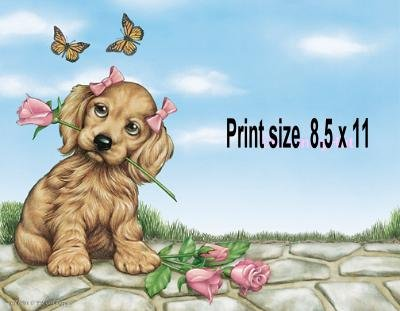 GIRL PUPPY pink roses, butterflies - PERSONALIZED 1 Name Meaning Print  - no US s/h fee