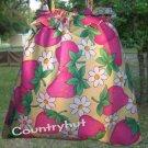 Strawberries & Daisies - Gift Bag - Draw string handbag - multi purpose handbag, cosmetic bag