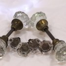 Antique Lot of Clear Glass / Brass Door Knobs and Drawer Pulls - Excellent