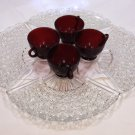 Vintage Fan Snack Plate and Royal Ruby glass Cup by Anchor Hocking - Set of 4