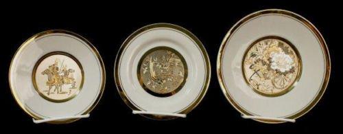 Collectors Art of Chockin Porcelain Plates, Samurai Warrior, Bird & Flower Cart