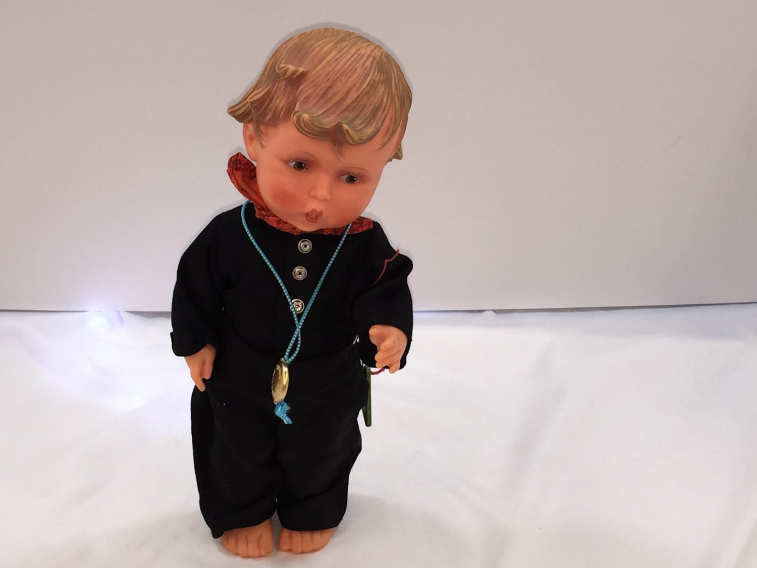 """Hummel Goebel Boy Doll with 2 outfits and original tags 12"""" tall"""