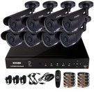 ZOSI 8 Channel Security Camera System with 8pcs HD 800TVL (#1000000008)