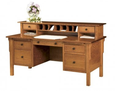 Amish Computer File Desk Mission Solid Wood Home Office Furniture Drawers Topper