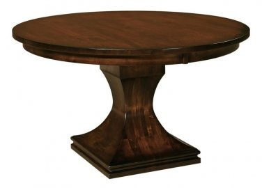 Amish Pedestal Dining Table Round Modern Contemporary Solid Wood Extending