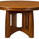 Amish Mission Round Pedestal Dining Table Rustic Modern Solid Wood Kitchen