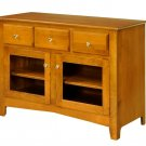 """Amish Solid Wood 46"""" TV Stand Console Cabinet Plasma LCD Media Glass Doors"""