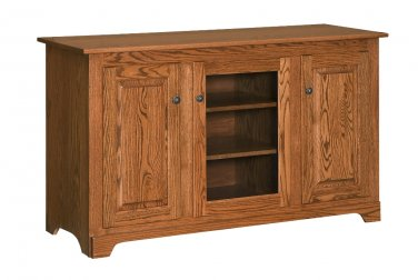 """Amish Handcrafted 56"""" Solid Wood TV Stand Console Cabinet Doors Storage"""
