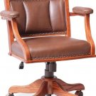 Amish Desk Arm Chair Low Computer Solid Wood Leather Upholstery Office Furniture
