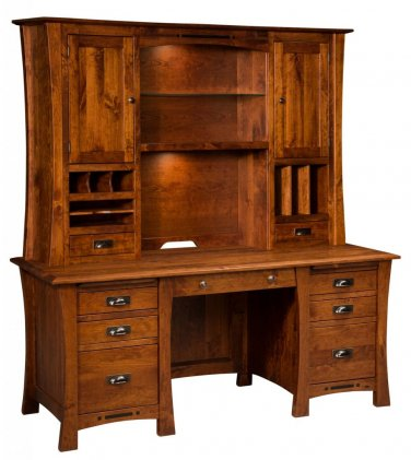 """68"""" Amish Executive Computer Desk Hutch Home Office Solid Wood Furniture"""