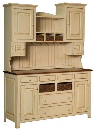 Amish Primitive Kitchen Sadies Hutch Farm Pantry Cupboard Wood Country Furniture