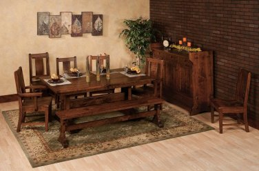 Amish RusticTrestle Dining Table Set Bench Chairs Rectangle Extending Solid Wood