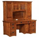 "72"" Amish Executive Computer Desk Hutch Home Office Solid Wood Furniture"