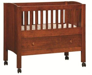 Amish Baby Infant Bassinet Newborn Solid Wood Nursery Furniture Storage Drawer