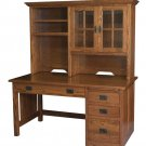 Amish Mission Computer Desk Hutch Solid Wood Home Office Rustic Furniture Oak
