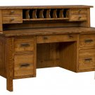 Amish Computer File Desk Rustic Solid Wood Office Furniture File Drawers Topper