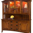 Amish Mission 4-Door Hutch Dining Room Furniture Glass Solid Wood Curved Top