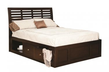 Amish Modern Platform Bed Solid Wood Bedroom Furniture Drawer System King Queen