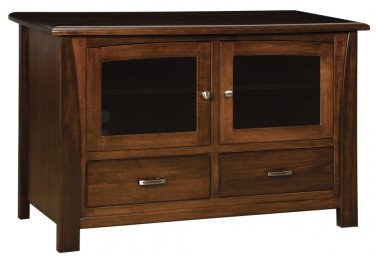 """Amish Solid Wood TV Stand 52"""" Console Cabinet Plasma LCD Media Glass Doors"""