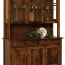 Amish Mission Modern 3-Door Hutch Dining Room Furniture Glass Solid Wood
