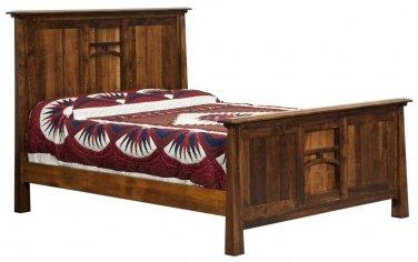 Amish Rustic Panel Artesa Mission Bed Wood Cabin Bedroom Furniture King Queen