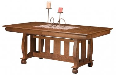 Amish Trestle Dining Table Solid Wood Country Cottage Farmhouse Furniture