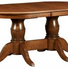 Amish Double Pedestal Dining Table Traditional Solid Wood Furniture Extensions